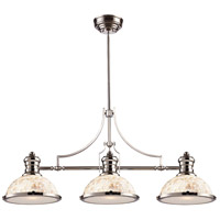 ELK 66415-3 Chadwick 3 Light 47 inch Polished Nickel Billiard Light Ceiling Light in Incandescent