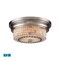 Chadwick LED 13 inch Satin Nickel Flush Mount Ceiling Light in Cappa Shell