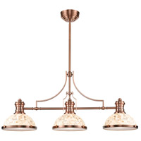 Chadwick 3 Light 47 inch Antique Copper Billiard Light Ceiling Light in Incandescent