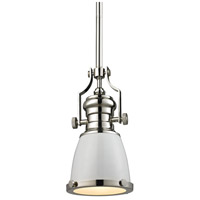 ELK Lighting Chadwick 1 Light Pendant in Gloss White with Polished Nickel 66514-1