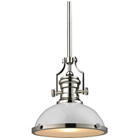 ELK Lighting Chadwick 1 Light Pendant in Gloss White with Polished Nickel 66515-1