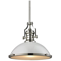 Chadwick 1 Light 17 inch Gloss White with Polished Nickel Pendant Ceiling Light