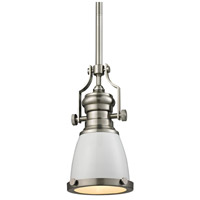 ELK Lighting Chadwick 1 Light Pendant in Gloss White with Satin Nickel 66524-1