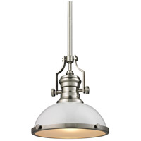 Chadwick 1 Light 13 inch Gloss White with Satin Nickel Pendant Ceiling Light