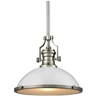 ELK Lighting Chadwick 1 Light Pendant in Gloss White with Satin Nickel 66526-1