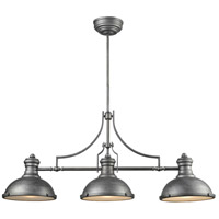 ELK 66585-3 Chadwick 3 Light 47 inch Weathered Zinc Billiard Light Ceiling Light photo thumbnail