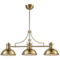 ELK 66595-3 Chadwick 3 Light 47 inch Satin Brass Island Light Ceiling Light