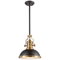 ELK 66614-1 Chadwick 1 Light 13 inch Oil Rubbed Bronze with Satin Brass Pendant Ceiling Light