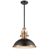 ELK 66618-1 Chadwick 1 Light 17 inch Oil Rubbed Bronze with Satin Brass Pendant Ceiling Light