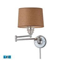 ELK Lighting Insulator Glass 1 Light Swingarm Sconce in Polished Chrome 66804-1-LED