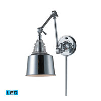 ELK Lighting Insulator Glass 1 Light Swingarm Sconce in Polished Chrome 66805-1-LED
