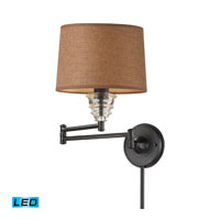 Insulator Glass 26 inch 13.5 watt Oiled Bronze Swingarm Sconce Wall Light