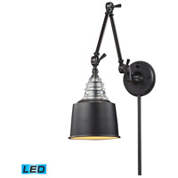 ELK 66815-1-LED Insulator Glass 34 inch 9.5 watt Oiled Bronze Swing Arm Sconce Wall Light