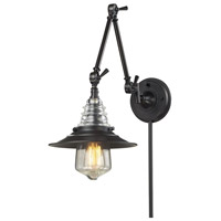 ELK 66816-1 Insulator Glass 34 inch 60 watt Oiled Bronze Swing Arm Sconce Wall Light