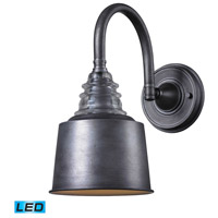 ELK 66823-1-LED Insulator Glass LED 7 inch Weathered Zinc Sconce Wall Light