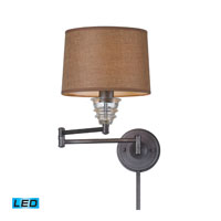 ELK Lighting Insulator Glass 1 Light Swingarm Sconce in Weathered Zinc 66824-1-LED