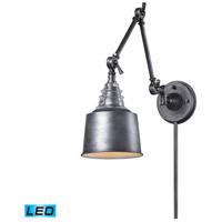 ELK Lighting Insulator Glass 1 Light Swingarm Sconce in Weathered Zinc 66825-1-LED