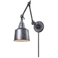 ELK 66825-1 Insulator Glass 33 inch 100 watt Weathered Zinc Swing Arm Sconce Wall Light in Incandescent