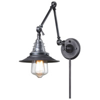 ELK 66826-1 Insulator Glass 34 inch 60 watt Weathered Zinc Swingarm Wall Light