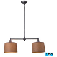 ELK 66831-2-LED Insulator Glass LED 31 inch Weathered Zinc Billiard/Island Ceiling Light