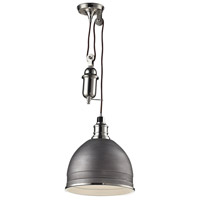 Carolton 1 Light 12 inch Weathered Zinc with Polished Nickel Pendant Ceiling Light
