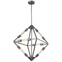 ELK 66894/6 Laboratory 6 Light 20 inch Weathered Zinc Chandelier Ceiling Light