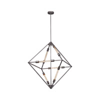 Laboratory 6 Light 28 inch Weathered Zinc Chandelier Ceiling Light