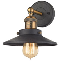 ELK 67180/1 English Pub 1 Light 10 inch Antique Brass with Tarnished Graphite Vanity Light Wall Light in Antique Brass and Tarnished Graphite