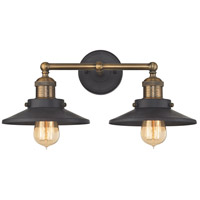 English Pub 2 Light 18 inch Antique Brass,Tarnished Graphite Vanity Wall Light