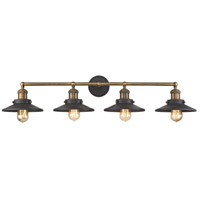 English Pub 4 Light 38 inch Antique Brass,Tarnished Graphite Vanity Wall Light