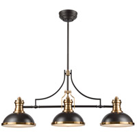 ELK 67217-3 Chadwick 3 Light 47 inch Oil Rubbed Bronze with Satin Brass Island Light Ceiling Light