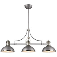 Chadwick 3 Light 47 inch Weathered Zinc with Polished Nickel Billiard Light Ceiling Light