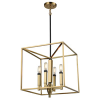 Mandeville 4 Light 16 inch Satin Brass with Oil Rubbed Bronze Chandelier Ceiling Light
