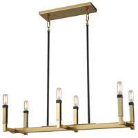 Mandeville 6 Light 31 inch Satin Brass with Oil Rubbed Bronze Chandelier Ceiling Light
