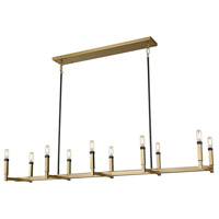 Mandeville 10 Light 60 inch Satin Brass with Oil Rubbed Bronze Chandelier Ceiling Light