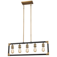 Lisbon 5 Light 35 inch Classic Brass and Oil Rubbed Bronze Billiard Island Ceiling Light