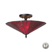 ELK Lighting Lumino 3 Light Semi Flush in Inferno Red/Matte Black with Recessed Conversion Kit 70001-3IR-LA