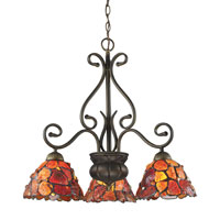 ELK Lighting Carnelian 3 Light Chandelier in Tiffany Bronze 70005/3