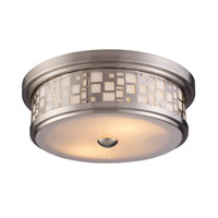 Tiffany 2 Light 13 inch Satin Nickel Flush Mount Ceiling Light