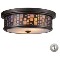 ELK 70027-2-LA Tiffany 2 Light 13 inch Oiled Bronze Flush Mount Ceiling Light in Incandescent, Recessed Adapter Kit