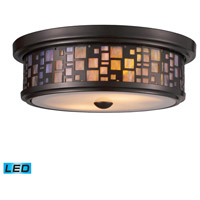 ELK 70027-2-LED Tiffany LED 13 inch Oiled Bronze Flush Mount Ceiling Light in Standard