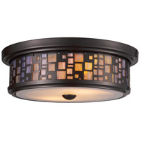 Tiffany 2 Light 13 inch Oiled Bronze Flush Mount Ceiling Light in Incandescent, Standard