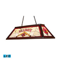 Tiffany LED 44 inch Dark Mahogany Wood Billiard/Island Ceiling Light