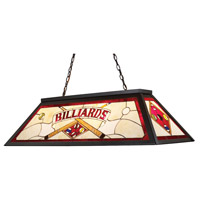 ELK 70053-4 Tiffany Lighting 4 Light 44 inch Tiffany Bronze Billiard Light Ceiling Light in Incandescent, Red Billiard Motif