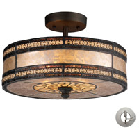 ELK 70065-2-LA Mica Filigree 2 Light 14 inch Tiffany Bronze Semi Flush Mount Ceiling Light in Recessed Adapter Kit