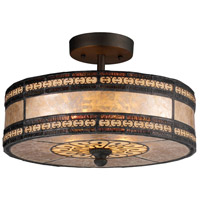 Mica Filigree 2 Light 14 inch Tiffany Bronze Semi-Flush Mount Ceiling Light in Standard