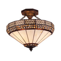 ELK Lighting Stone Filigree 3 Light Semi Flush in Burnished Copper 70075-3