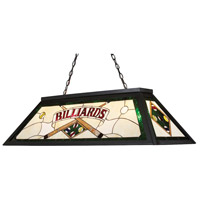 ELK 70083-4 Tiffany Lighting 4 Light 44 inch Tiffany Bronze Billiard Light Ceiling Light in Incandescent, Green Billiard Motif