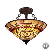ELK Lighting Glass Leaf 3 Light Semi-Flush Mount in Tiffany Bronze 70086-3-LA