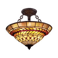 ELK Lighting Glass Leaf 3 Light Semi-Flush Mount in Tiffany Bronze 70086-3
